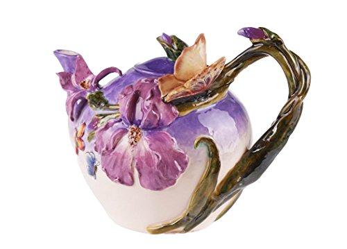 Blue Sky Ceramic Blue Bella Violet Butterfly Teapot, 9.5 x 6 x 7