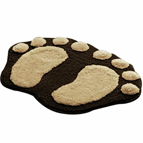 Sothread Creative Non-slip Soft Foot Shaped Plush Mat Bath Toilet Carpet Bedroom Area Rug (Coffee)