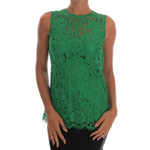 - Dolce & Gabbana Green Floral Lace Top Blouse