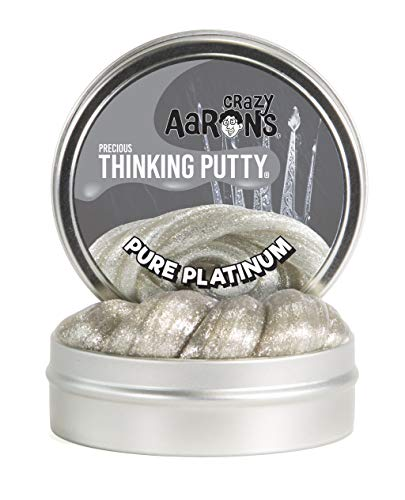 Crazy Aaron's Thinking Putty, 1.6 Ounce, Precious Metals Pure Platinum (5 Ct Tin)