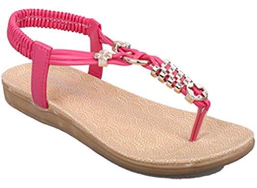 pink Sandales En Plate Sandales Chaussures De Vacances Bohême Plage De Plates Accessoires Métal Plage De Chaussure Femme Style RqgfTT