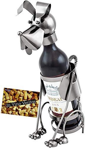 BRUBAKER Wine Bottle Holder 'Dog' - Table Top Metal Sculpture - with Greeting Card (Metal Wine Holders Bottle)