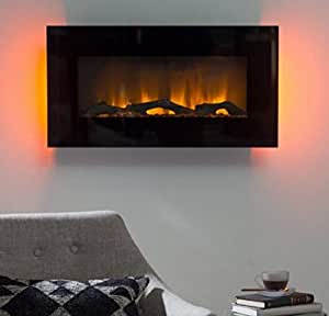 Electric Fireplace Wall Mount Wall Heater 30 In Led Wall Fireplace Color Black