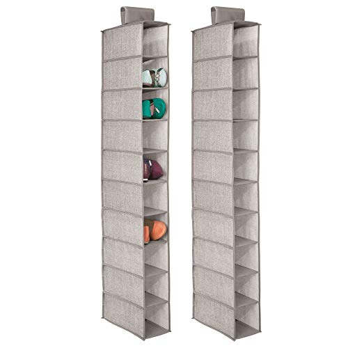 mDesign Soft Fabric Closet Organizer - Holds Shoes, Handbags, Clutches, Accessories - 10 Shelf Over Rod Hanging Storage Unit - Textured Print - 2 Pack - Linen/Tan ()