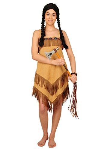 Karnevals Gigant Indianer Kostum Braun Beige Fur Damen Grosse 34