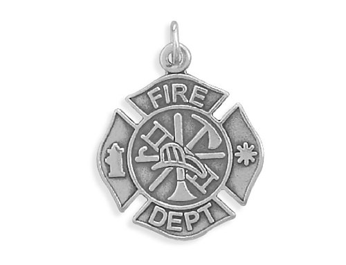 Corinna-Maria Sterling Silver Firefighter Pendant Cross (Sterling Cross Maltese Silver)
