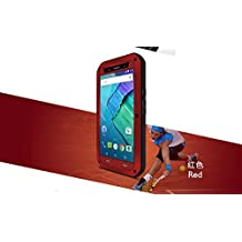Moto X Play Case - CGJY Heavy Duty Aluminum Metal Double mixed Bumper ShockProof WaterProof DustProof with Gorilla Glass Case Cover for Moto X Play Red