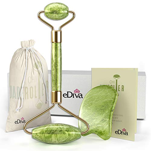 - eDiva Chi Jade Rolling Kit | 100% Natural Real Jade Roller | Anti Aging Massage and Lymph Drainage Tool for Face, Eye, Neck, Body | For Lymphatic Massage, Wrinkles, Puffiness, and Fine Lines