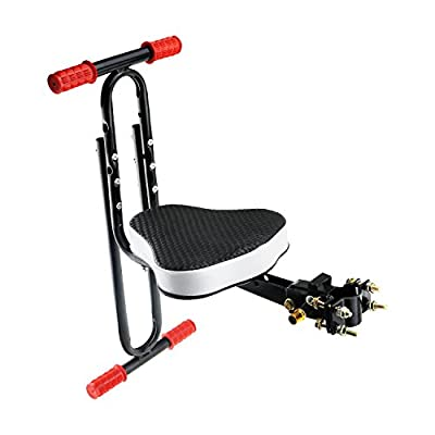 VEY Child Bike Seat Front, Kid Carrier Bicycle Baby Seat, Including Cushion and Handrail Footpegs (Front Seat with Peg)