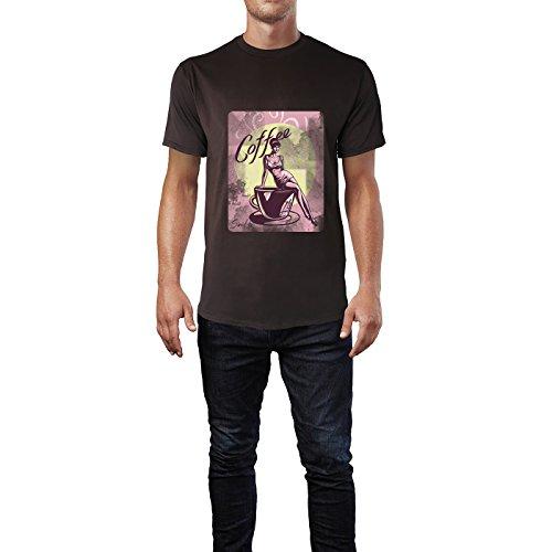 SINUS ART® Vintagebild mit Frau und Kaffetasse Herren T-Shirts in Schokolade braun Fun Shirt mit tollen Aufdruck