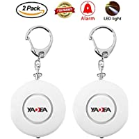 2 Pack Personal Protection System 130dB Alarm Safety Security Alarms Keychain for Women,Kids,Girls,Superior,with YADEA LED Flashlight Explorer Self Defense Electronic Device Bag Decoration(White)