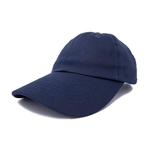 Dalix Unisex Unstructured Cotton Cap Adjustable Plain Hat, Navy Blue