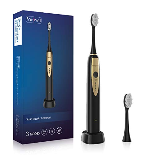 Sonic Electric Toothbrush Rechargeable Magnetic Suspension Motor USB Wireless Charging Powerful Toothbrushes for Adult FW2081 Black by Fairywill