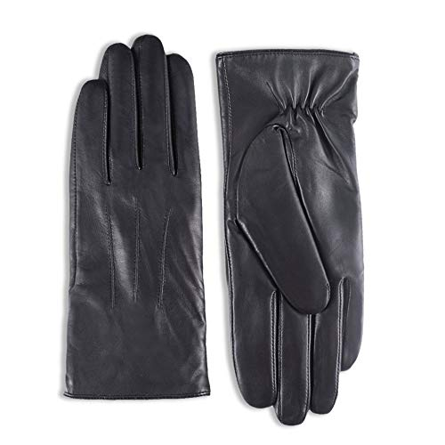 YISEVEN Women's Touchscreen Sheepskin Leather Gloves Classic Three Points Button Cuff Hand Warm Fleece Fur Lined Ladies Winter Motorcycle Luxury Dress Driving Work Xmas Gifts, Black 7.5