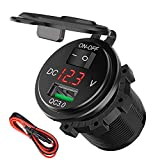 Quick Charge 3.0 USB Charger Socket, SunnyTrip 18W 12V/24V USB Power Outlet Adapter Waterproof Car Charger with LED Voltmeter & On Off Switch for Car RV ATV Boat Marine Motorcycle Mobile