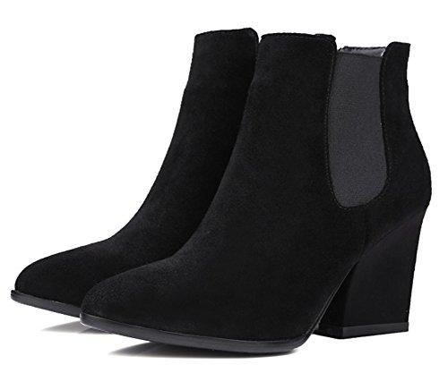 Aisun Dames Eenvoudige Vegan Suède Hoge Gestapelde Hak Chelsea Laarzen Elastische Puntschoen Pull Op Enkellaarsjes Zwart