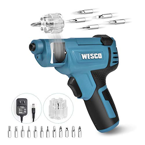 WESCO Cordless Screwdriver, Electric Screwdriver 4V Max 1.5Ah Rechargable Battery, 12 Pcs Screwdriver Bits, Front LED, Mini Screw Guns, Multifunctional Tools/WS2013U.