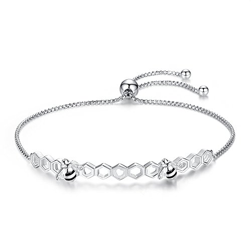 Honeycomb Honeybees Bracelet Sterling Silver 925 Black Enamel Adjustable Bangle Link Chain 10