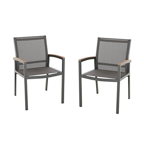 Great Deal Furniture Emma Outdoor Mesh and Aluminum Frame Dining Chair (Set of 2), Gray (Aluminum Arm Chairs)