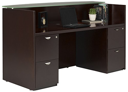 Mayline MRSBBESP Mira Series Reception Station with 2 Box/Box/File, Espresso Veneer - Mira Wood Box