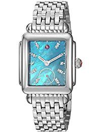 MICHELE Women's 'Deco Mid' Swiss Quartz Stainless Steel Casual Watch, Color:Silver-Toned (Model: MWW06V000104)