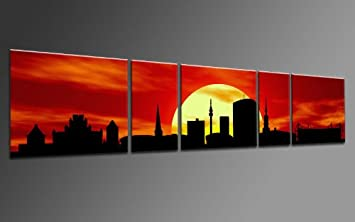 TOP Image On Canvas CITY PaNORAMA Style DORTMUND SUN Red 5 Piece DIGITAL Arts AP500097 Pictures