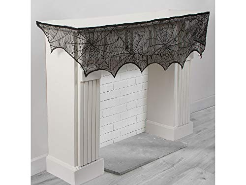 AMSCAN Lace Cobweb Mantel Scarf, Halloween Decorations, Party