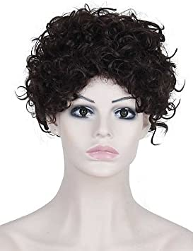 resistentes peluca pelo falso pelucas baratas de calor marrones oscuros cortos afro rizado sintéticos para las