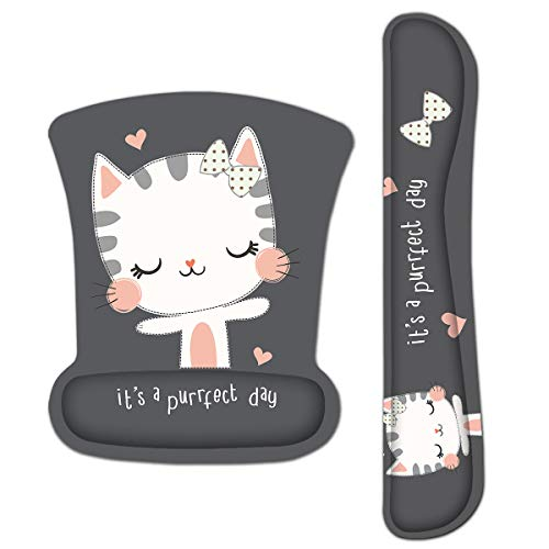 HAPLIVES Ergonomic Keyboard Wrist Rest Pad and Mouse Pad Wrist Support Set with Non-Slip Backing Memory Form-Filled, Easy-Typing and Pain Relief for Gaming Office Computer Laptop (Cute Cat)