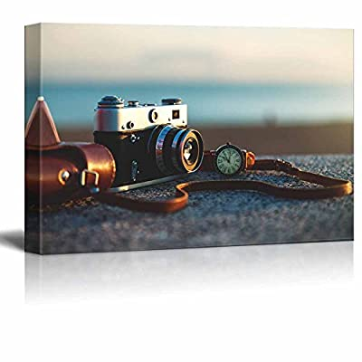 Canvas Prints Wall Art - Retro/Vintage Camera at Sunset in Park | Modern Wall Decor/Home Decoration Stretched Gallery Canvas Wrap Giclee Print & Ready to Hang - 16