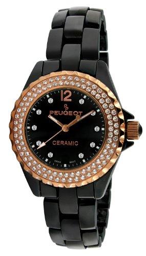 - Peugeot Women's PS4892BR Swiss Ceramic Swarovski Crystal Black Dial Watch