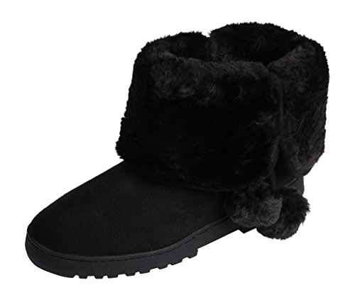 Beverly Rock Womens Faux Suede Fur Lined Pom Pom Boot Black (Black Outdoor Boots)