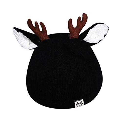 Bolley Joss Cute Reindeer Antlers Baby Beanie Soft Warm Crochet Knitted Hat for Toddler Girls Boys Black