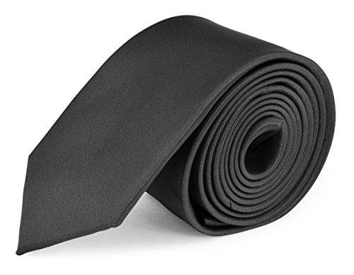 Moda Di Raza- Mens Skinny Slim Neck Tie - Silk Finish Polyester Men Necktie - Solid Color Long Ties for Men - Fashion Tie - - Tie Men In Black