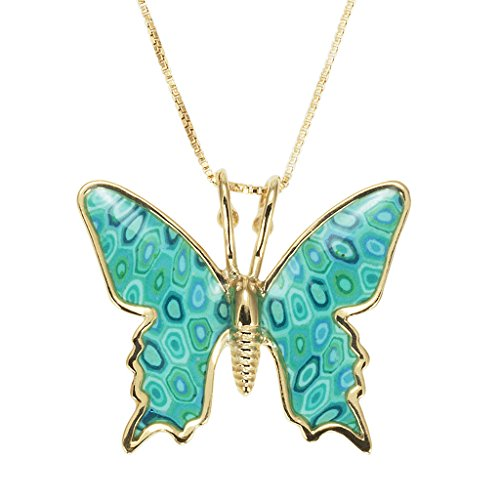 (Gold Plated Silver Butterfly Necklace Sea Green Polymer Clay Handmade Charm Jewelry, 16.5