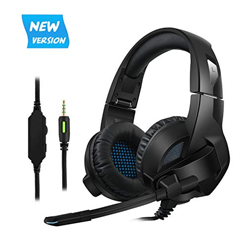 Cocopa Gaming Headset for PS4, PC, Xbox One Controller, Noise Cancelling Over Ear Headphones with Mic, Bass Surround, Soft Memory Earmuffs for Laptop Mac Switch Games