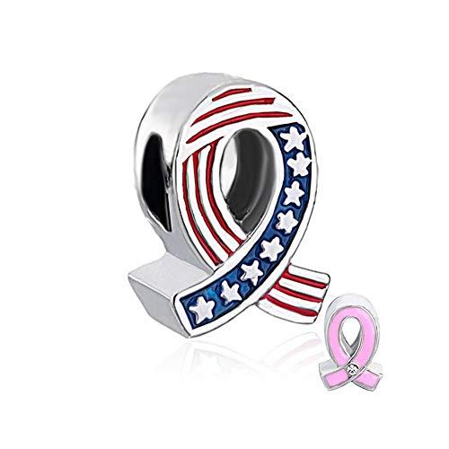 Ribbon Pink Awareness Charm (DemiJewelry USA Flag Pink Ribbon Pendant Breast Cancer Awareness Charms Beads for Charm Bracelet ForGirls)