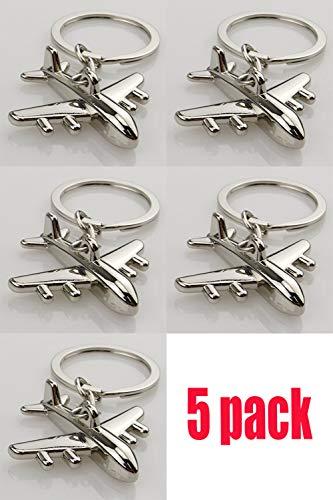 5PCS Fashion Aircraft Airplane Air Plane Model Metal Keychains Key Chains Rings Keyfob Keyrings ()