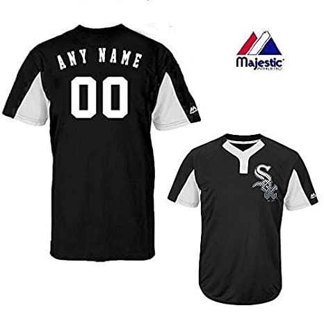 2d122f1c474 Amazon.com   2-Button Cool-Base Chicago White Sox 2-Color Black White Blank  or CUSTOM Back (Name  ) MLB Officially Licensed Baseball Placket Jersey    Sports ...