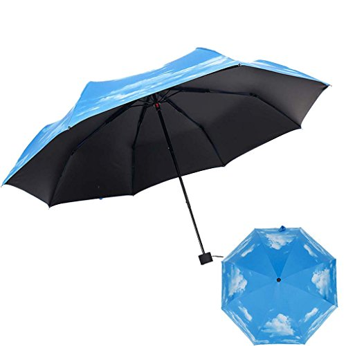 Price comparison product image C.A.Z. Womens Mens Couple Style Natural Blue Sky and Cloude Painting Print Campacting Foldable Sun Rain Super Anti UV Travel Umbrella Large Canopy for Two People