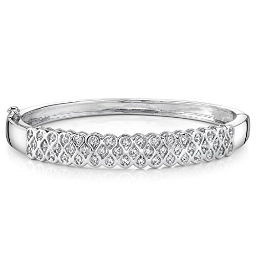 Absolutely Fabulous Sterling Silver Rhodium Nickel Finish Bezel-Set Cubic Zirconia Hinged Bangle Bracelet