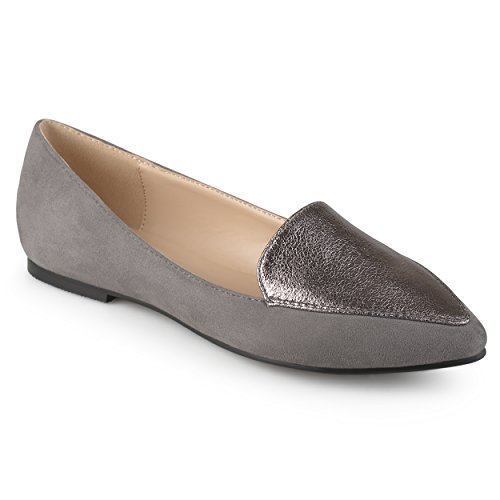 Journee Collection Womens Pointed Toe Loafer Flats Grey 4Uncf7BP0