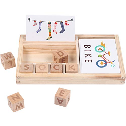 DREAMT Matching Letter Game, Wooden English Alphabet Card Game Machine, Letter Spelling Game Puzzle Early Educational Toy for Kids 3 Years Old and Up