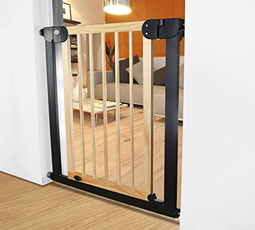 Extra Wide Safety Baby Gate for Doorways and Stair, Wood Pet Gate with Dog Door, Fits Space 82-90cm, No Safety Hazard