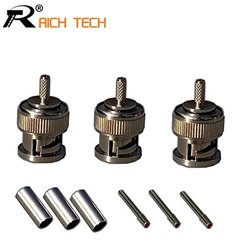 Gimax 3pcs Wire connector BNC male crimp Type Connector for cctv system BNC MALE plug COUPLER CONNECTOR RG58/RG59/RG6 - (Color: RG6)