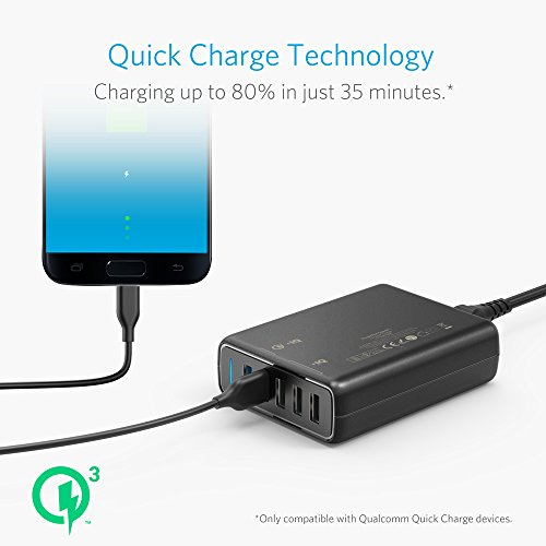 Anker Quick Charge 3.0 63W 5-Port USB Wall Charger, PowerPort Speed 5 Galaxy S9 / S8 / S7 / S6 / Edge / +, Note 5/4 PowerIQ iPhone X / 8/7 / 6s / Plus, iPad, LG, Nexus, HTC More by Dr.fasting (Image #3)