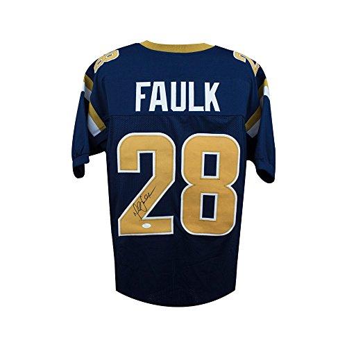 Marshall Faulk Autographed St Louis Rams Custom Navy Football Jersey - JSA COA - St Louis Rams Football Jersey