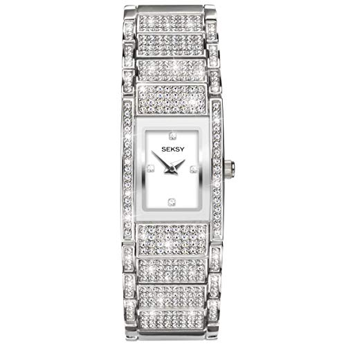 Women's Silver with Swarovski Crystals Bracelet Watch, Silver Stone Set Dial with Silver Plate, Water Resistant, Extra Clasps, Seksy Collection by Sekonda (Silver)