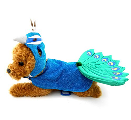 SMALLLEE_Lucky_Store Animal Peacock Dog Costume with Adjustable Hat & Cape Blue, for Small Dog Under 20 pounds]()