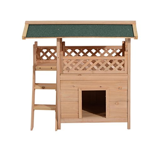 Natural Wood & xFF08;30.5\ Pawhut 2-Story Indoor Outdoor Wood Cat House Shelter with Roof